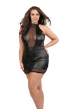 Black Plus Size Wet Look Houreglass Dress Bondage Mesh Queen Plus 1X 2X 3X