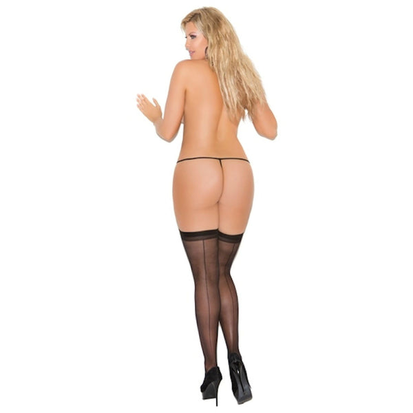 Plus Size Appeal:Elegant Moments Women's Plus Size sheer Back Seam Thigh Hi 1701Q:Hosiery:Plus Size Clothing