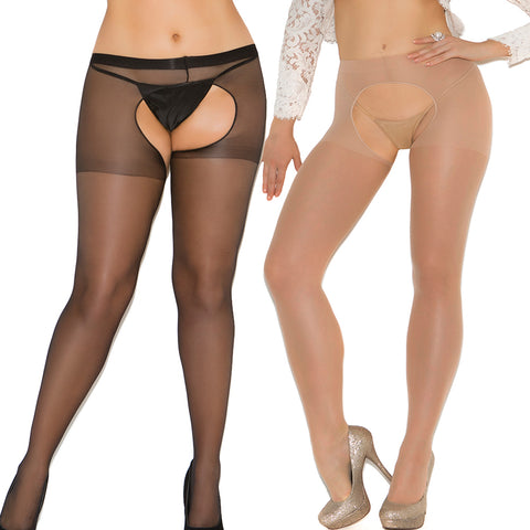 ALLURING SHEER PLUS SIZE CROTCHLESS PANTYHOSE OPEN-CROTCH