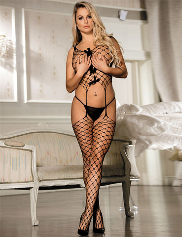 Black Plus Size Fence Net Crop Top w Bow Suspender Bodystocking  Body Stocking Black - DM_H3003