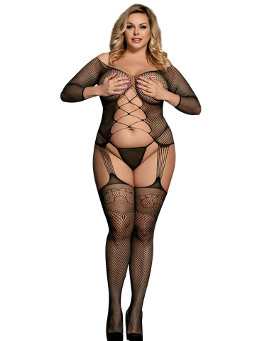 Sexy Plus Size Halter Fishnet - Bodystocking - Crotchless -  Body Stocking by Discreet Moments Black - DM_H3167P