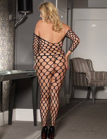 Black Sexy Plus Size Bodystocking Pothole Fence Net Crotchless Body Stocking by Discreet Moments Black