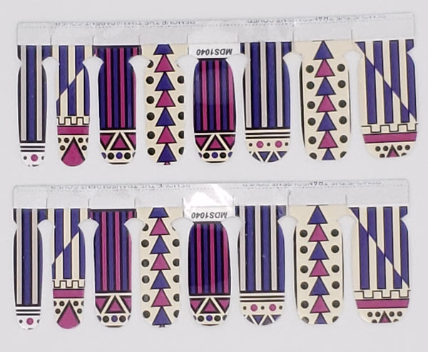 Trendy Tribal Abstract Inspired Purple, Pink and Black Nail Wrap Decals Sticker Salon Quality Nail Art - 1 Sheet