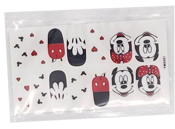 Minnie Mouse Mickey Mouse Ears Nail Decals Sticker Salon Quality Nail Art - 1 Sheet Fingernails