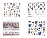 Boho Inspired 4 Full Set of Feathers Dream Catchers Tribal Navajo wolf Nail Sticker Salon Quality Nail Art - Nail Decals