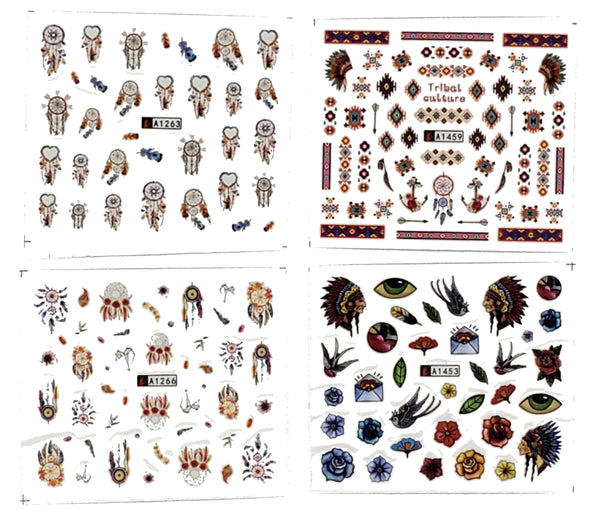 Boho Inspired 4 Full Set of Feathers Dream Catchers Tribal Navajo Nail Sticker Salon Quality Nail Art - Nail Decals