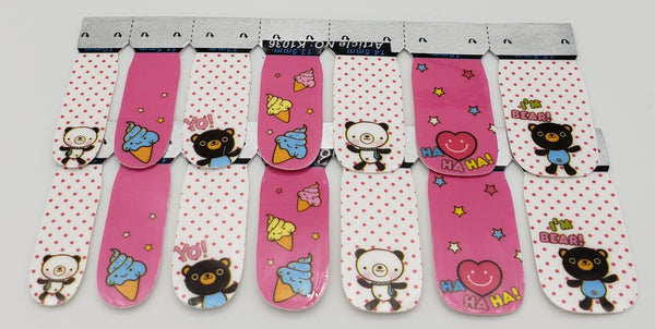 Punk Gothic Rockabilly Ice Cream Heart and Teddy Bears Nail Wrap Decals Sticker Salon Quality Nail Art - Great for Halloween! 1 Sheet
