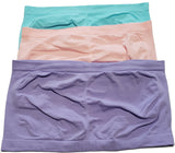 Womans Trendy Plus Size Soft Seamless Bandeau Tube Top 3 Pack Pink, Lavender Blue