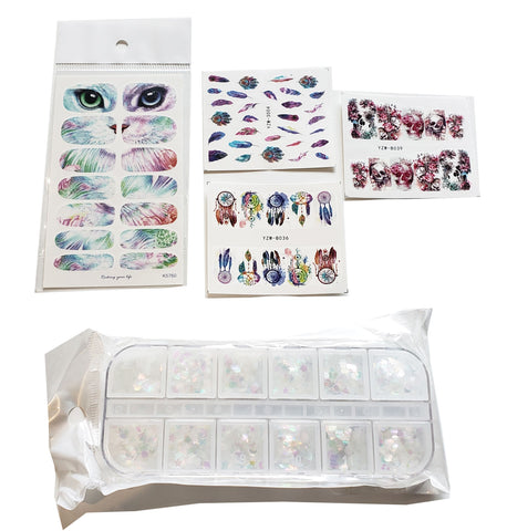 Moderate Nail Art Package includes 8 nail sticker holographic sequins and nail art tape November 2019 PaLiSoL Creations