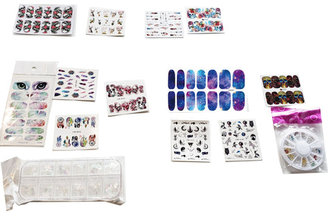 Pro Nail Art Package includes 24 nail sticker 1 package of holographic sequins, 12 rhinestone skulls and 2 nail art tape. November 2019 PaLiSoL Creations