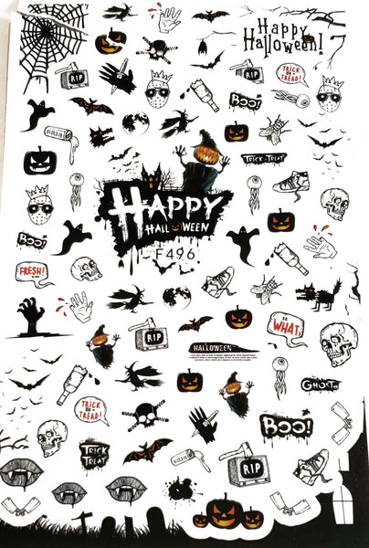 Over 50 Halloween Nail Stickers - Pumpkin - skull - words - Nail Decal Punk Gothic Rockabilly Nail Wrap Decals Sticker Nail Art - Great for Halloween!