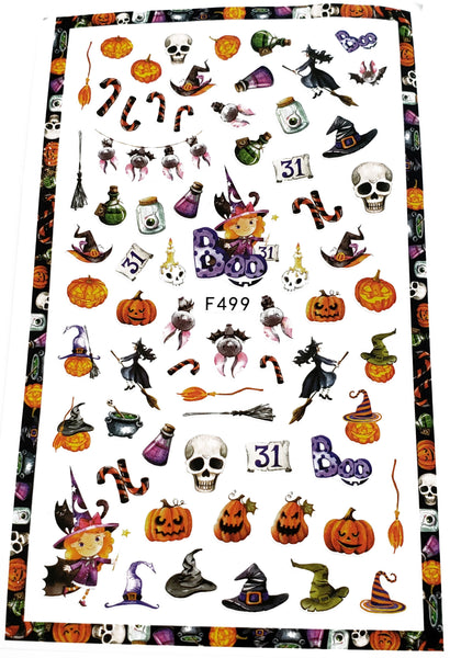 Over 50 Halloween Nail Stickers - Pumpkin - skull - Witch Hat - Nail Decal Punk Gothic Rockabilly Nail Wrap Decals Sticker Nail Art - Great for Halloween!