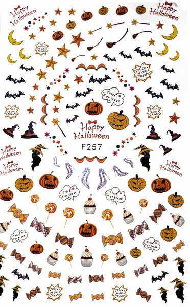 Over 50 Halloween Nail Stickers - Pumpkin - Cats - Cupcakes - Candies - Witch Hat - Nail Decal Punk Gothic Rockabilly Nail Wrap Decals Sticker Nail Art - Great for Halloween!