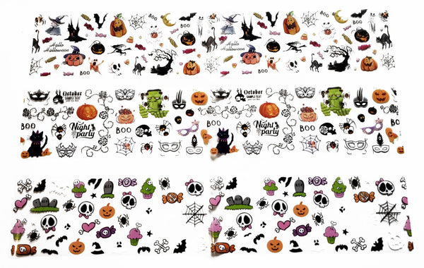 3 Strips of Halloween Foil Nail Designes - Includes Happy Halloween elements such as - Candies -  Spiders - Pumpkins - Ghosts