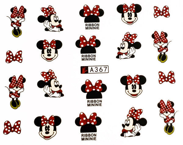 Cute Minnie Mouse Nail Decals Sticker Salon Quality Nail Art - 1 Sheet Fingernails