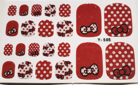 22 Hello Kitty Red Polka Dot Bow Silver Glitter Sparkle Toe Nail Wrap Decals Sticker Kawaii - 1 Sheet