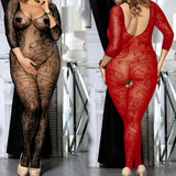 Sexy Plus Size Lace Floral Fishnet - Bodystocking - Crotchless - DM_H3031