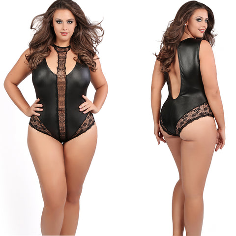 Plus Size Wet Look Black Jacqueline Lace Choker Bodysuit Bondage Teddy Teddies Queen Plus Size Allure Lingerie
