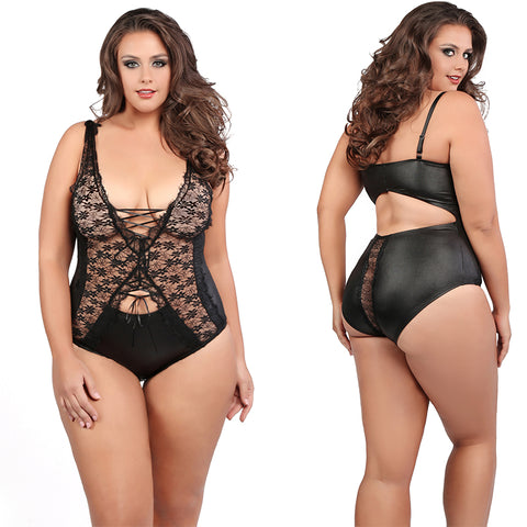 Plus Size Black  Lace Bodysuit Bondage Teddy Teddies Queen Size Allure Lingerie