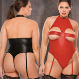 Plus Size Wet Look Peekaboo Halter Teddy Bondage Teddies Queen Plus Size Allure Lingerie