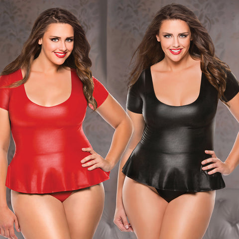 Plus Size Wet Look Peplum Top & G-String Bondage Queen Plus Size Allure Lingerie