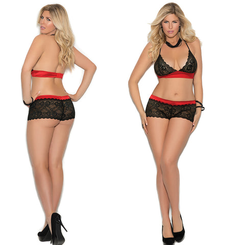 2 pcs Halter Stlye Lace Bralette with Matching Panties5485x
