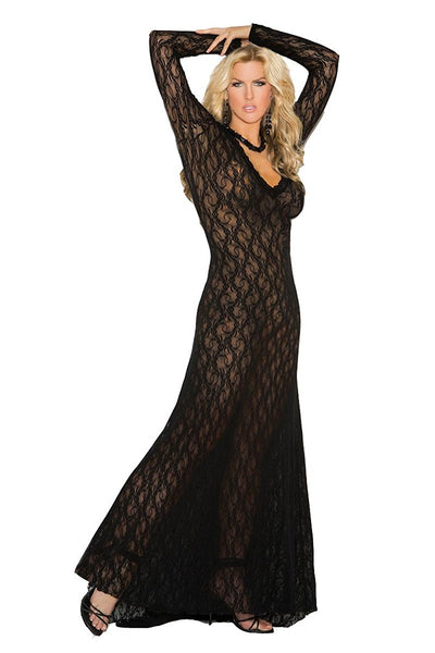 Plus Size Appeal:Seductive Women's Plus-Size Queen Size Long Sleeve Lace Gown Elegant Moments 1949X:Lingerie:Plus Size Clothing