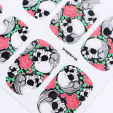 Plus Size Appeal:Full Set of 12 Punk Gothic Rockabilly SKULL and ROSES Nail Wrap Decals Sticker Salon Quality Nail Art - Great for Halloween! 1 Sheet:Health and Beauty:Plus Size Clothing