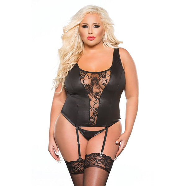 Plus Size Appeal:Sexy Plus Size Lace and Wet Look Corset Queen Plus Size Allure Lingerie Kitten Plus:Lingerie:Plus Size Clothing
