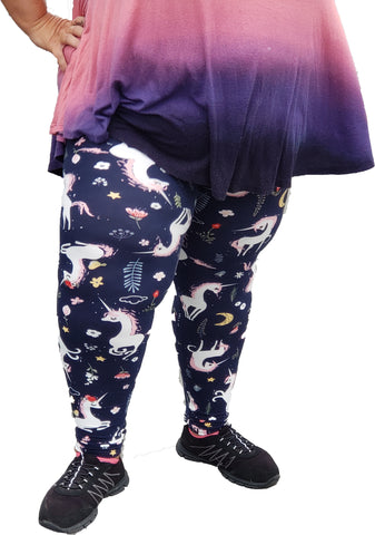 Woman's Buttery Soft Plus Size Happy Pink Unicorn Leggings Gothic Punk Rock Rockabilly Moon