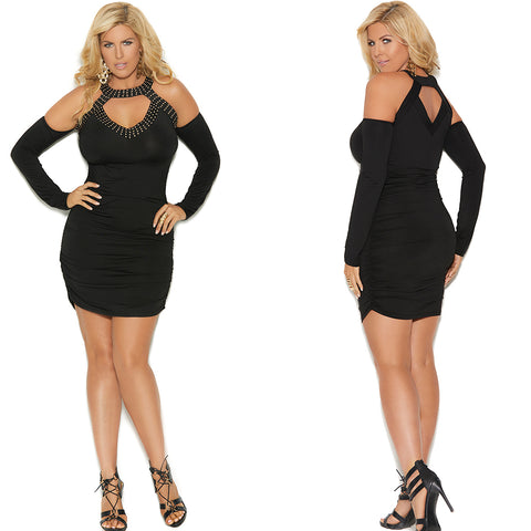 Plus Size Sexy Lil Black Dress with peek a boo back and open front 80007X