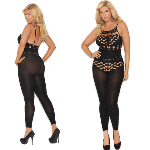 Black Plus Size Opaque Footless bodystocking With Cut out Detailing 82183Q
