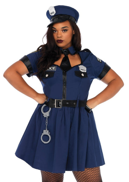 Plus Size Sexy Cop Halloween Costume 1X/2X 3X/4X 5pcs Navy86681X