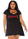 Trendy Black Halloween Vampire Fang Fangtastic Criss Cross Top / Jersey Knit Dress 1X/2X 3X/4X 86769X