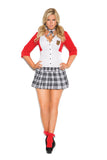 Sexy Plus Size Dean List Diva School Girl Halloween Costume 9113