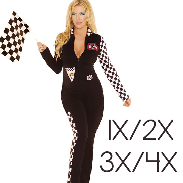 Sexy Plus Size High Speed Hottie Race Car Driver Halloween Costume Elegant Moments 9446