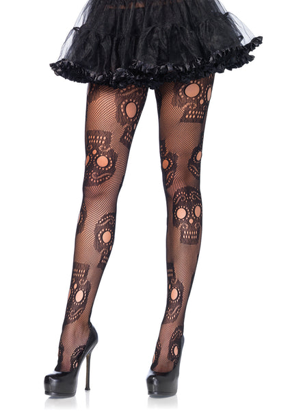 Queen Plus Size Sugar Skull and Fishnet Pantyhose - Tights - Gothic - Goth - Halloween Stockings