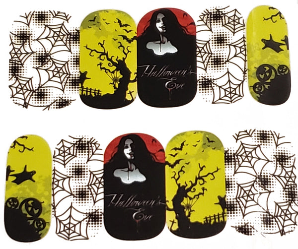 Halloween Spider Web Pumpkin Haunting Nail Decal Punk Gothic Rockabilly Nail Wrap Decals Sticker Nail Art - Great for Halloween!