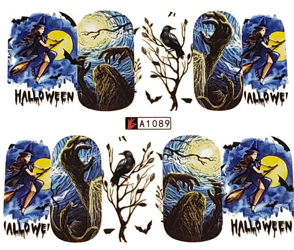 Halloween Witch , Raven, Moon  Haunting Nail Decal Punk Gothic Rockabilly Nail Wrap Decals Sticker Nail Art - Great for Halloween!