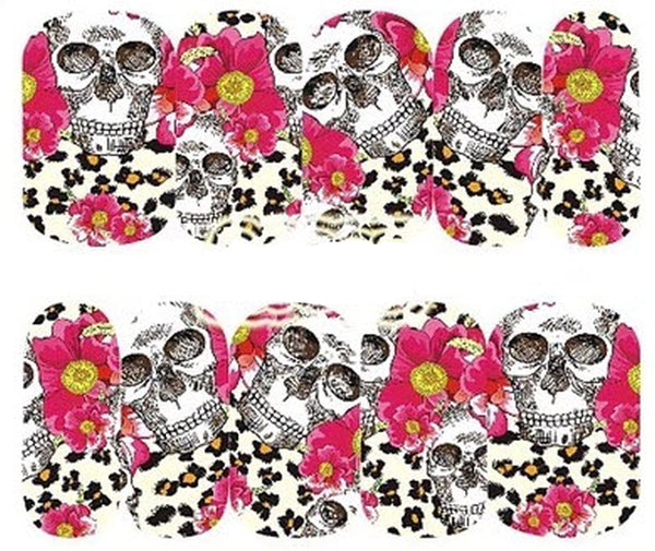 Sheet of Skull Stickers with Flowers and Leopard Cheetah Print Nail Decal Punk Gothic Rockabilly SKULL Nail Wrap Decals Sticker Salon Quality Nail Art - Great for Halloween!