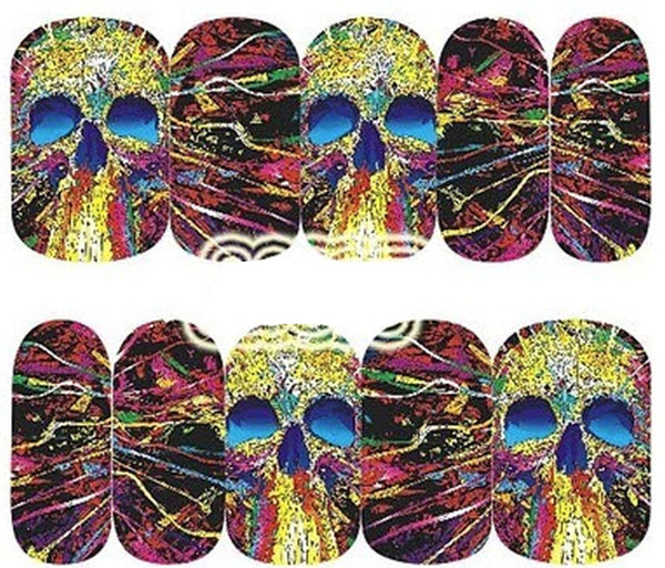 Sheet of Skull with Phychedelic Effects Nail Decal Punk Gothic Rockabilly SKULL Nail Wrap Decals Sticker Salon Quality Nail Art - Great for Halloween!