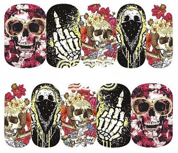 Full Sheet Skull with roses  Skeleton Middle Finger Nail Decal Punk Gothic Rockabilly Fuck You SKULL Nail Wrap Decals Sticker Salon Quality Nail Art - Great for Halloween!