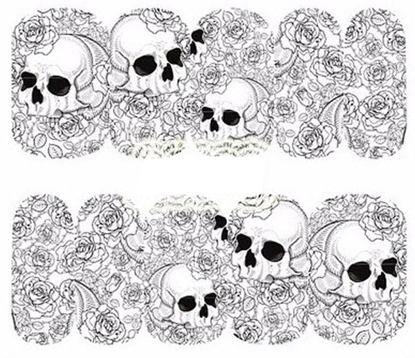 Full Sheet of Black White Skull  with roses Nail Decal Punk Gothic Rockabilly SKULL Nail Wrap Decals Sticker Salon Quality Nail Art - Great for Halloween!