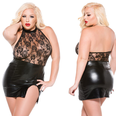 Plus Size Appeal:Sultry Plus Size Wet Look Halter Dress Allure Lingerie Kitten Plus:Lingerie:Plus Size Clothing