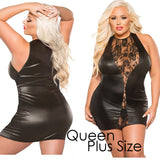 Plus Size Appeal:Sultry Black Plus Size Lace and Wet Look Dress Queen Plus Size Allure Lingerie Kitten Plus:Lingerie:Plus Size Clothing