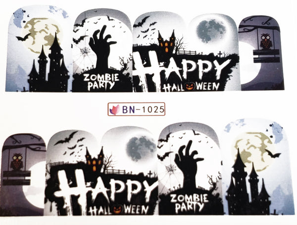 Happy Halloween Haunting inspired Nail Decal Punk Gothic Rockabilly Nail Wrap Decals Sticker Nail Art - Great for Halloween!