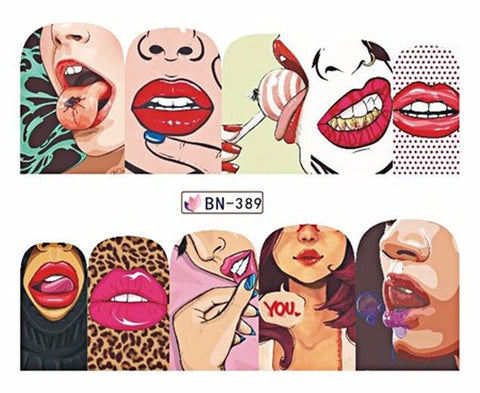 Full Set of 10 Punk Gothic Rockabilly Lips Grill Mouth Nail Wrap Decals Sticker Salon Quality Nail Art - 1 Sheet