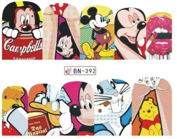 Mickey Mouse Pop Culture Lips Winnie the Pooh Bugs Bunny Donald Duck Nail Stickers - Salon Quality Nail Art Nail Wrap Nail Decals  - 1 Sheet
