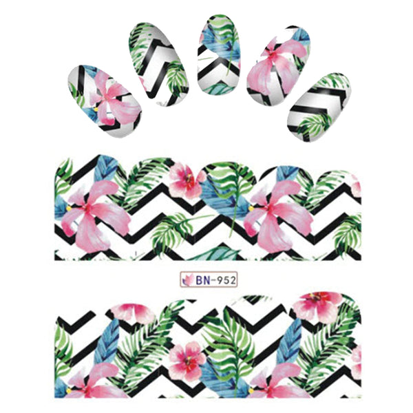 Chevron Tropical iNspired Nail Wraps Hibiscus & Lily Flowers and Leaves Decals Sticker Salon Quality Nail Art - 1 Sheet