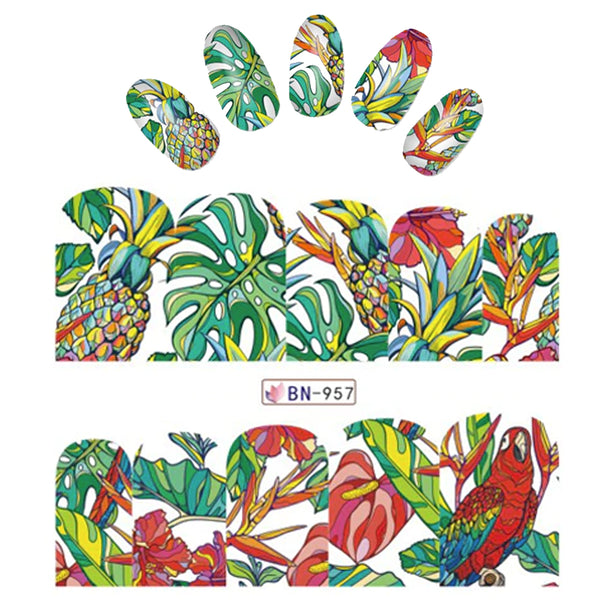 Tropical iNspired Nail Wraps Parrot Watercolor Fruits Pinapple Decals Sticker Salon Quality Nail Art - 1 Sheet